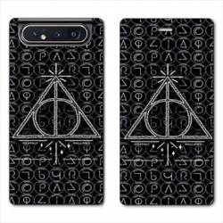 Housse cuir portefeuille Samsung Galaxy A80 WB License harry potter pattern triangle noir