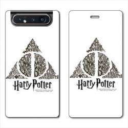 Housse cuir portefeuille Samsung Galaxy A80 WB License harry potter pattern triangle Blanc