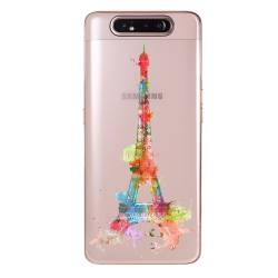 Coque transparente Samsung Galaxy A80 Tour eiffel colore