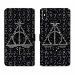 RV Housse cuir portefeuille Wiko Y60 WB License harry potter pattern triangle noir