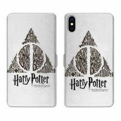 RV Housse cuir portefeuille Wiko Y60 WB License harry potter pattern triangle Blanc