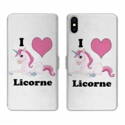 RV Housse cuir portefeuille Wiko Y60 Licorne I love FR
