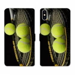 RV Housse cuir portefeuille Wiko Y60 Tennis Balls