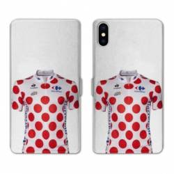 RV Housse cuir portefeuille Wiko Y60 Cyclisme Maillot pois