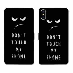 RV Housse cuir portefeuille Wiko Y60 Humour don't touch