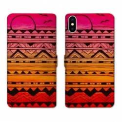 RV Housse cuir portefeuille Wiko Y60 motifs Aztec azteque soleil