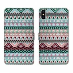 RV Housse cuir portefeuille Wiko Y60 motifs Aztec azteque turquoise