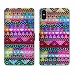 RV Housse cuir portefeuille Wiko Y60 motifs Aztec azteque rouge