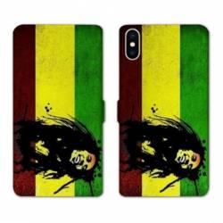 RV Housse cuir portefeuille Wiko Y60 Bob Marley Drapeau