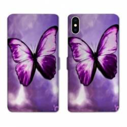 RV Housse cuir portefeuille Wiko Y60 papillons violet et blanc