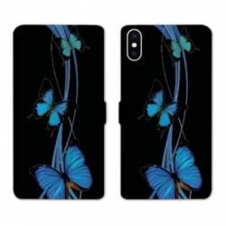 RV Housse cuir portefeuille Wiko Y60 papillons bleu