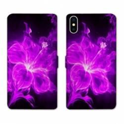 RV Housse cuir portefeuille Wiko Y60 fleur hibiscus violet