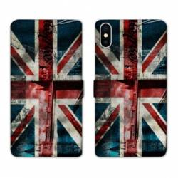 RV Housse cuir portefeuille Wiko Y60 Angleterre UK Jean's
