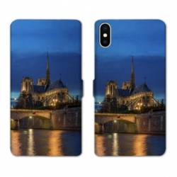 RV Housse cuir portefeuille Wiko Y60 France Notre Dame Paris night