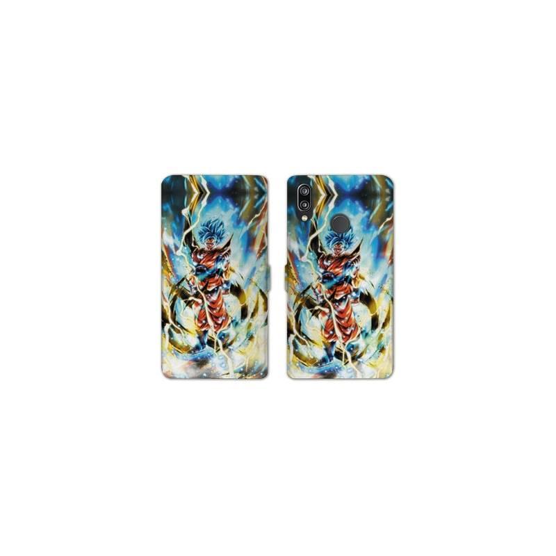 RV Housse cuir portefeuille Huawei Honor 10 Lite / P Smart (2019) Manga Dragon Ball Sangoku Blanc