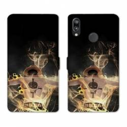 RV Housse cuir portefeuille Huawei Honor 10 Lite / P Smart (2019) Manga One Piece Ace noir