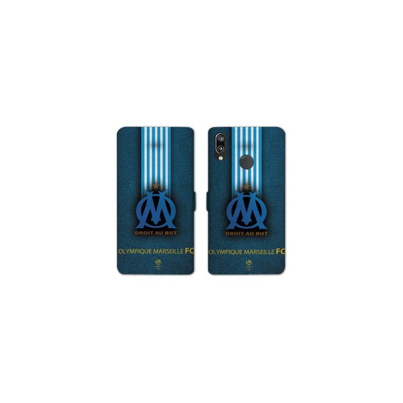 RV Housse cuir portefeuille Huawei Honor 10 Lite / P Smart (2019) Olympique Marseille OM Bande