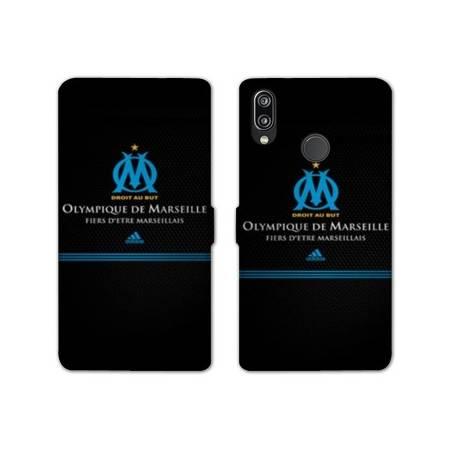 RV Housse cuir portefeuille Huawei Honor 10 Lite / P Smart (2019) Olympique Marseille OM Fier etre Marseillais
