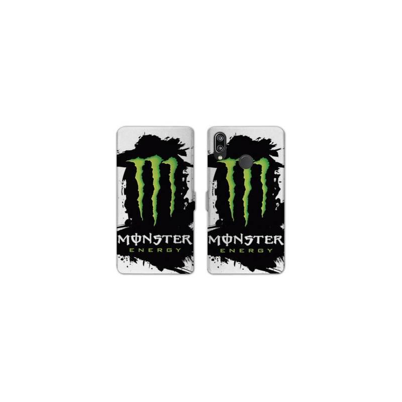 RV Housse cuir portefeuille Huawei Honor 10 Lite / P Smart (2019) Monster Energy tache