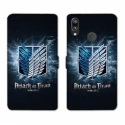 RV Housse cuir portefeuille Huawei P30 LITE Manga Attaque titans noir