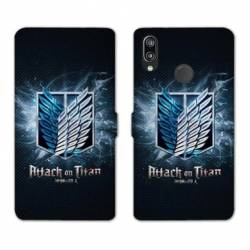 RV Housse cuir portefeuille Huawei Y6 (2019) / Y6 Pro (2019) Manga Attaque titans noir