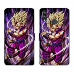 RV Housse cuir portefeuille Huawei Y6 (2019) / Y6 Pro (2019) Manga Dragon Ball Sangohan violet