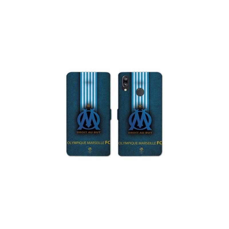 RV Housse cuir portefeuille Huawei Y6 (2019) / Y6 Pro (2019) Olympique Marseille OM Bande