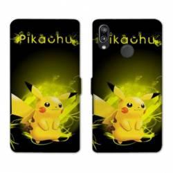 RV Housse cuir portefeuille Huawei Y6 (2019) / Y6 Pro (2019) Pokemon Pikachu eclair