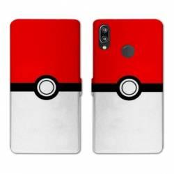 RV Housse cuir portefeuille Huawei Y6 (2019) / Y6 Pro (2019) Pokemon Pokeball