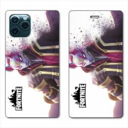 RV Housse cuir portefeuille Iphone 11 (6,1) Fortnite Blanc