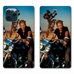 RV Housse cuir portefeuille Iphone 11 Pro Max (6,5) Johnny Hallyday Moto