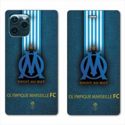 RV Housse cuir portefeuille Iphone 11 Pro Max (6,5) Olympique Marseille OM Bande