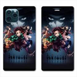 RV Housse cuir portefeuille Iphone 11 Pro Max (6,5) Manga Damon Slayer Noir