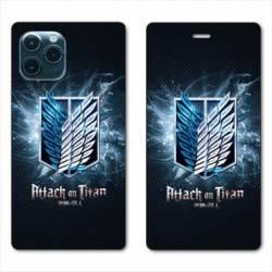 RV Housse cuir portefeuille Iphone 11 Pro Max (6,5) Manga Attaque titans noir