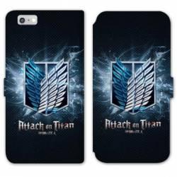 RV Housse cuir portefeuille Iphone 6 / 6s Manga Attaque titans noir