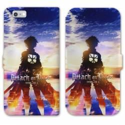 RV Housse cuir portefeuille Iphone 6 / 6s Manga Attaque titans Soleil