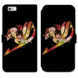 RV Housse cuir portefeuille Iphone 6 / 6s Manga Fairy Tail Logo Noir