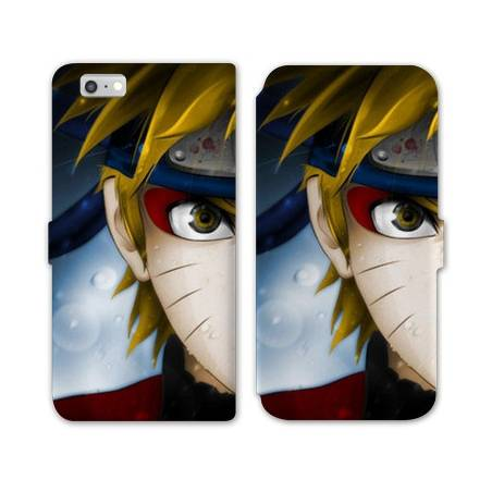 RV Housse cuir portefeuille Iphone 6 / 6s Manga Naruto blanc