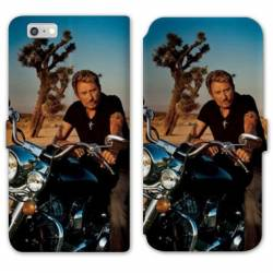 RV Housse cuir portefeuille Iphone 6 / 6s Johnny Hallyday Moto