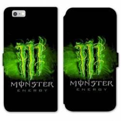 RV Housse cuir portefeuille Iphone 6 / 6s Monster Energy Vert