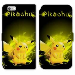 RV Housse cuir portefeuille Iphone 6 / 6s Pokemon Pikachu eclair