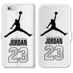 RV Housse cuir portefeuille Iphone 6 / 6s Jordan 23 Blanc