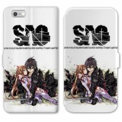 RV Housse cuir portefeuille Iphone 7 / 8 Manga SAO sword Art Online blanc
