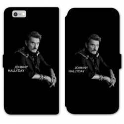 RV Housse cuir portefeuille Iphone 7 / 8 Johnny Hallyday Noir