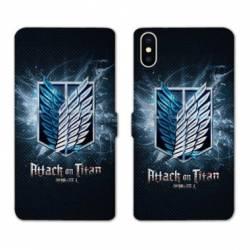 RV Housse cuir portefeuille Iphone XR Manga Attaque titans noir