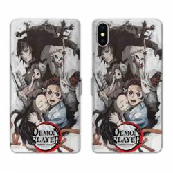 RV Housse cuir portefeuille Iphone XR Manga Damon Slayer Blanc