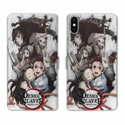 RV Housse cuir portefeuille Iphone XR Manga Damon Slayer Blanc