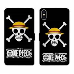 RV Housse cuir portefeuille Iphone XR Manga One Piece tete de mort