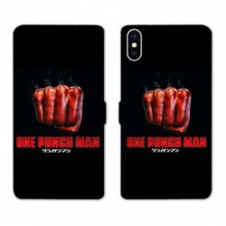 RV Housse cuir portefeuille Iphone XR Manga One Punch Man poing