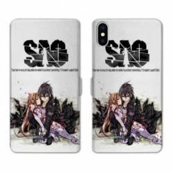 RV Housse cuir portefeuille Iphone XR Manga SAO sword Art Online blanc
